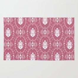 Dark pink damask pattern Rug