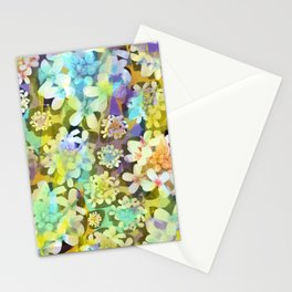 White Blooms with Colorful Overlay from the Forest Floor Stationery Cards