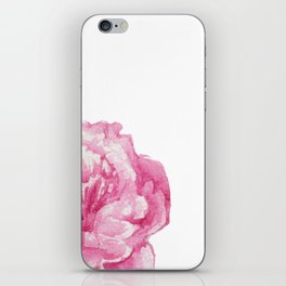 Pink Peony on White iPhone Skin