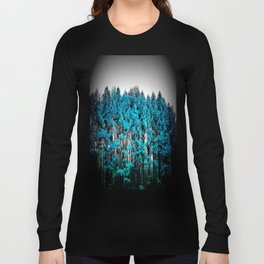 Turquoise Trees Gray Sky Long Sleeve T-shirt