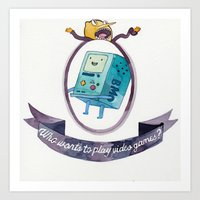 beemo Art Prints featuring BMO // WHO WANTS TO PLAY VIDEO GAMES? by Connie Cann