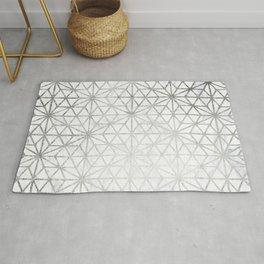 Modern silver stars geometric pattern Christmas white marble Rug