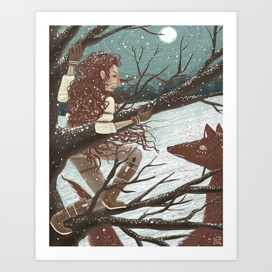 The Wolf and the Hound Art Print