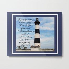 Bodie Island Lighthouse-North Carolina -With John 8:12 Metal Print
