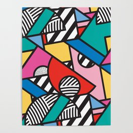 Colorful Memphis Modern Geometric Shapes Poster