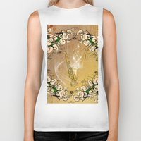 saxophone Biker Tanks featuring Saxophone with flowers by nicky2342