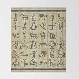 Ancient Egyptian Hieroglyphs on Papyrus Throw Blanket