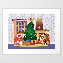 Merry Christmas Cat and Dog Art Print