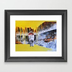 Mixed Media Art Yellow Rain Framed Art Print