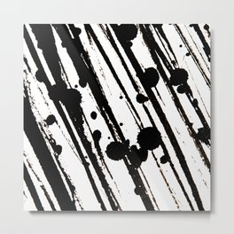 Black Ink Claws and Spots on White Background Metal Print