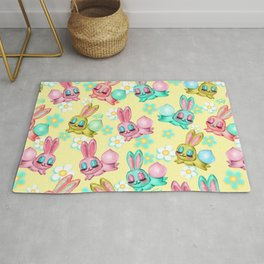 Bunnies and Daisies on Yellow Rug