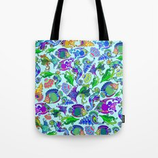 Marine Life Exotic Fishes & SeaHorses Ornamental Style Tote Bag