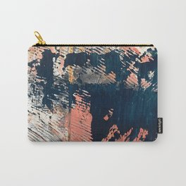 Hidden Gem [1]: an abstract mixed media piece in pink, blue, gold and white Carry-All Pouch