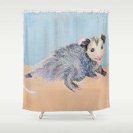 Happy Smiling Baby Opossum Watercolor Mixed Media Piece Shower Curtain