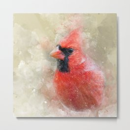 Northern Cardinal Watercolor Splatter Metal Print