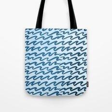 Abstract Metallic Sea Waves Saltwater Taffy Teal on Blue Raspberry Tote Bag