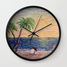 Lovers on the Beach Wall Clock