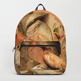Variety of Fresh Fish Seafood on Ice Backpack