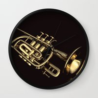trumpet Wall Clocks featuring trumpet by Ancello