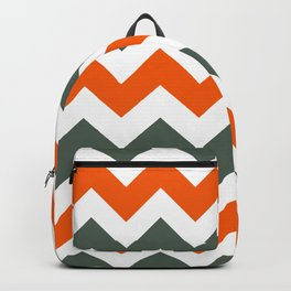 Chevron Pattern In Russet Orange Grey and White Backpack