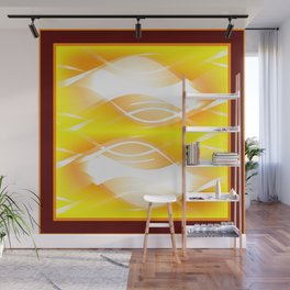 Background of white waves. Geometric pattern of white stripes and waves on a yellow background Wall Mural