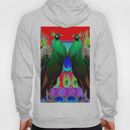 GREEN PEACOCKS & RED-PURPLE  MODERN ART Hoody