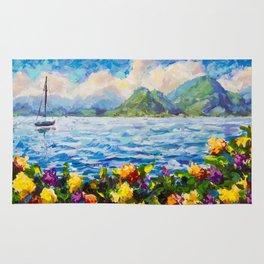Original palette knife painting Warm summer seascape by Valery Rybakow Rug