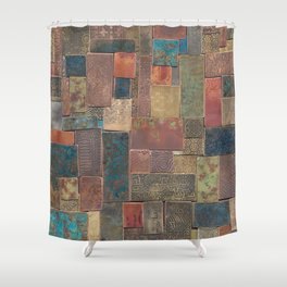 Etched Patina Patchwork Shower Curtain