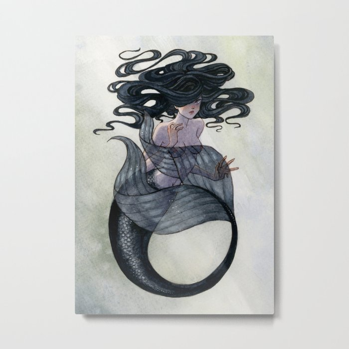 Black Mermaid Metal Print