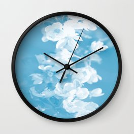 Spring Atmosphere White Flowers Sky Blue Background #decor #society6 #homedecor Wall Clock