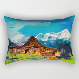 Sunny Day Over Teton Barn Rectangular Pillow
