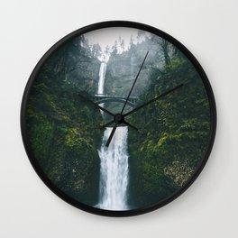 Fog at Multnomah Falls, Oregon Wall Clock