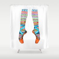socks Shower Curtains featuring Happy Ballet by Heaven7