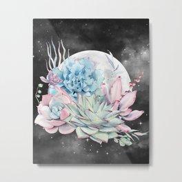 Beautiful Succulents Full Moon Night Sky by Nature Magick Metal Print