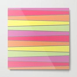 Summer Color Palette Crooked Stripes Metal Print
