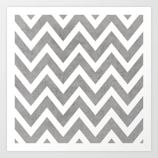 gray chevron Art Print