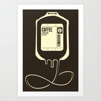 coffee Art Prints featuring Coffee Transfusion by Tobe Fonseca