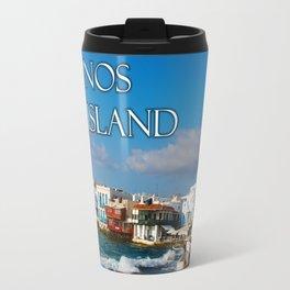 Seaside Cafe on Mykonos Island Greece Travel Mug