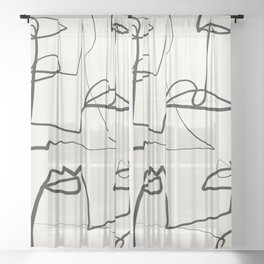 Abstract line art 12 Sheer Curtain