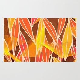 Bright Golden Orange Leaves Floral Print Rug