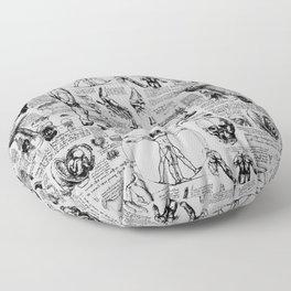 Da Vinci's Anatomy Sketchbook // Silver Floor Pillow