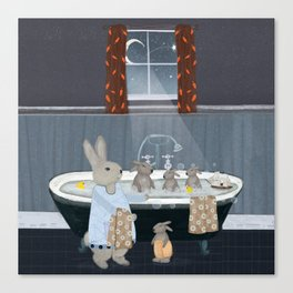 bunny bath time Canvas Print