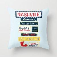 nashville Throw Pillows featuring Nashville signs by emma miller