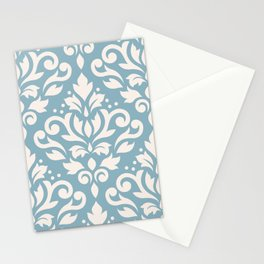 Scroll Damask Large Pattern Cream on Blue Stationery Cards
