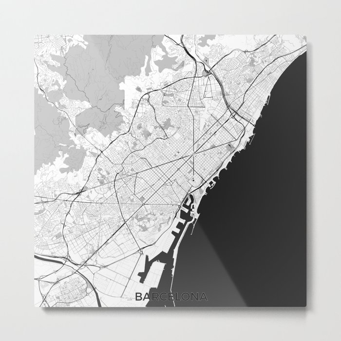 Barcelona Map Gray Metal Print