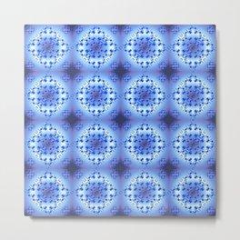 Ethnc blue geometic patern. Metal Print