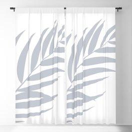 Light Pastel Gray White Coastal Frond Palm leaf Blackout Curtain