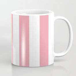Mauvelous pink - solid color - white vertical lines pattern Coffee Mug