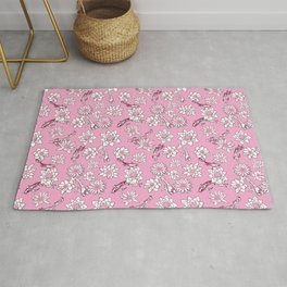 Pretty Pastel Cranberry and Pink Koi Fish on Pink Background Rug