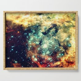 galaxy nebula stars Golden Brick Aqua Serving Tray